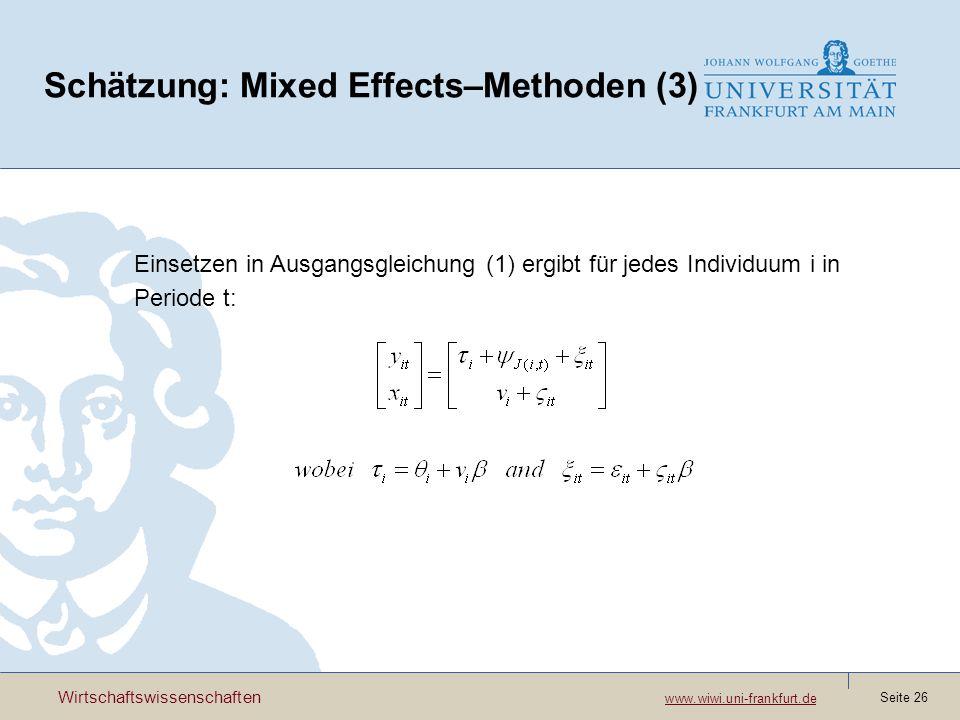 Schätzung: Mixed Effects–Methoden (3)