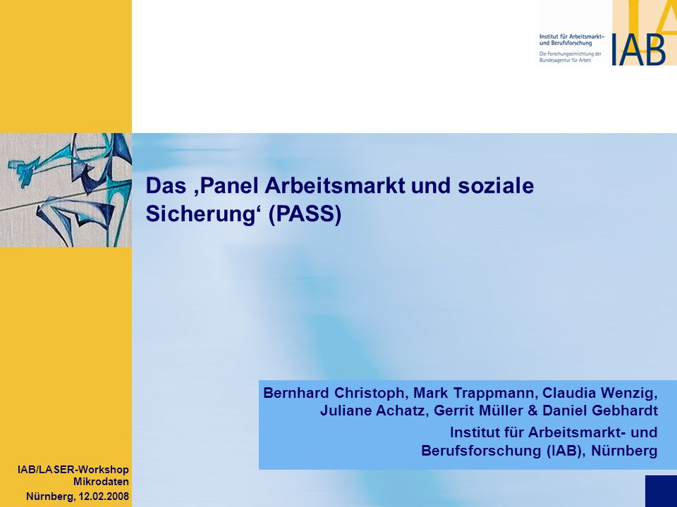 IAB/LASER-Workshop Mikrodaten Nürnberg, 12.02.2008