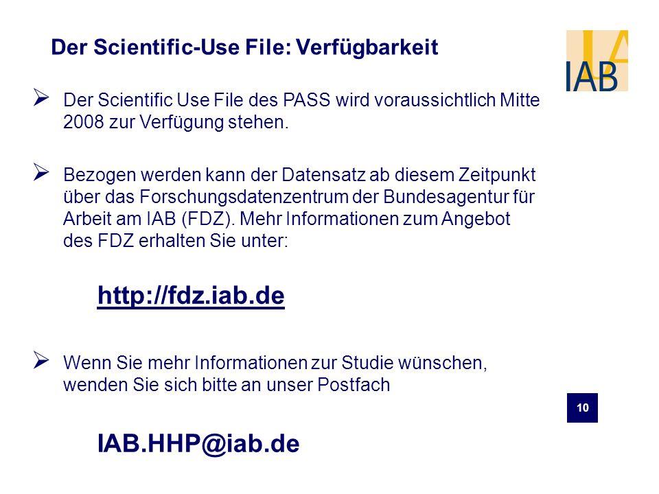 Der Scientific-Use File: Verfügbarkeit