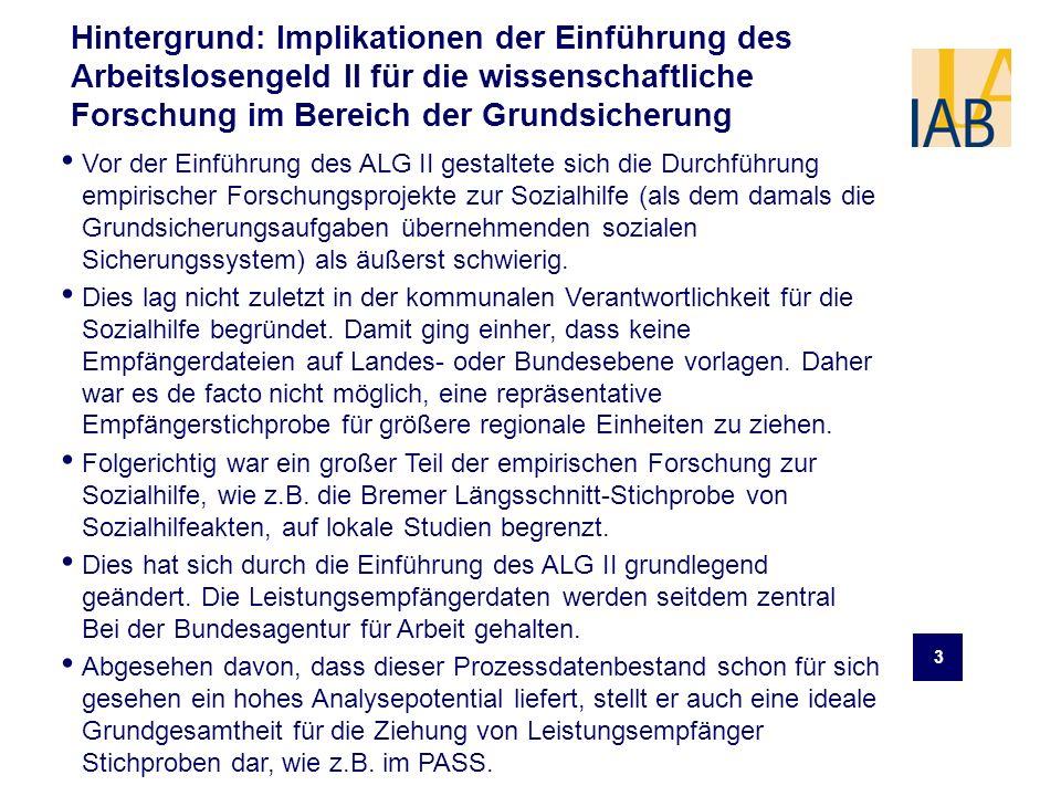Hintergrund: Implikationen der Einführung des Arbeitslosengeld II für die wissenschaftliche Forschung im Bereich der Grundsicherung