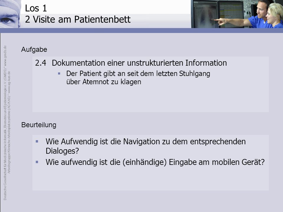 Los 1 2 Visite am Patientenbett