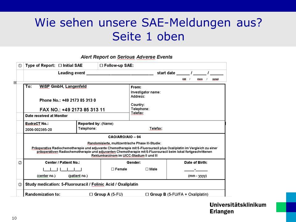 Wie sehen unsere SAE-Meldungen aus Seite 1 oben