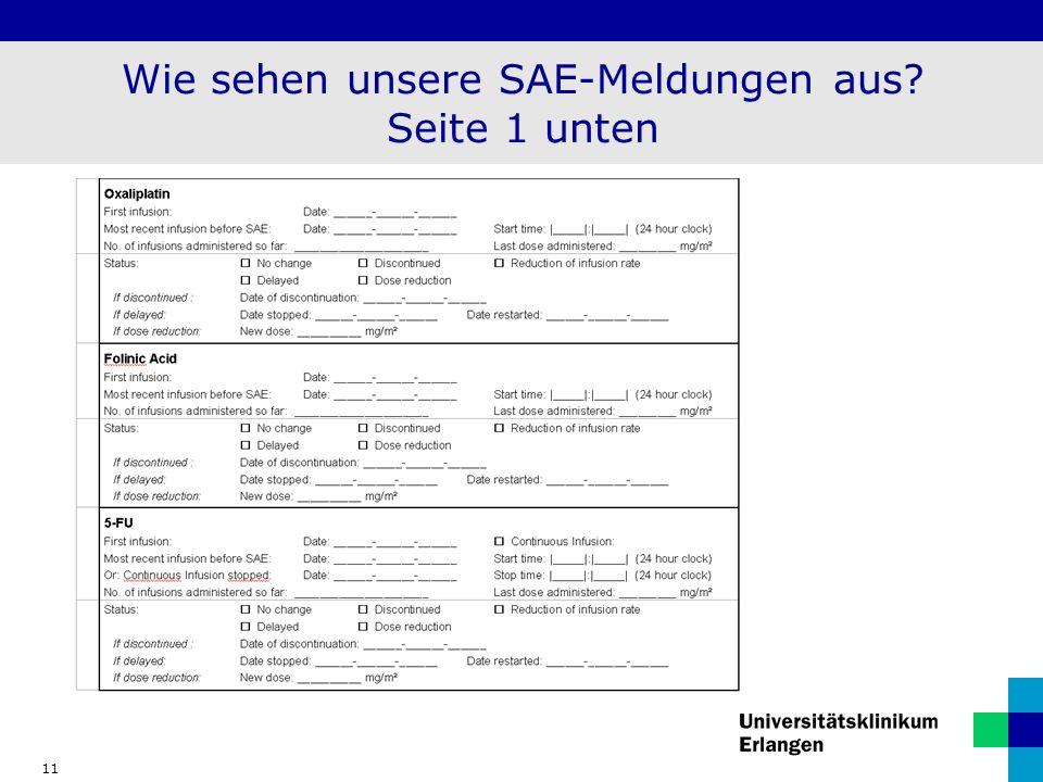 Wie sehen unsere SAE-Meldungen aus Seite 1 unten