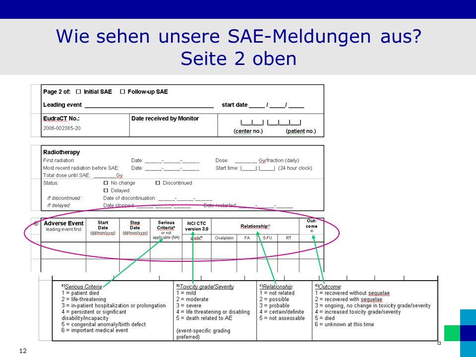 Wie sehen unsere SAE-Meldungen aus Seite 2 oben