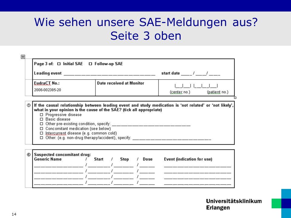 Wie sehen unsere SAE-Meldungen aus Seite 3 oben