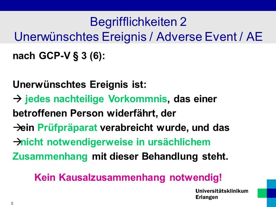 Begrifflichkeiten 2 Unerwünschtes Ereignis / Adverse Event / AE