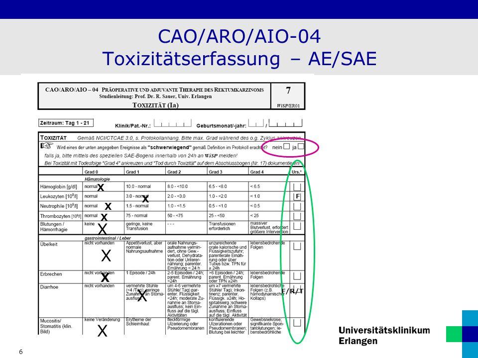 CAO/ARO/AIO-04 Toxizitätserfassung – AE/SAE