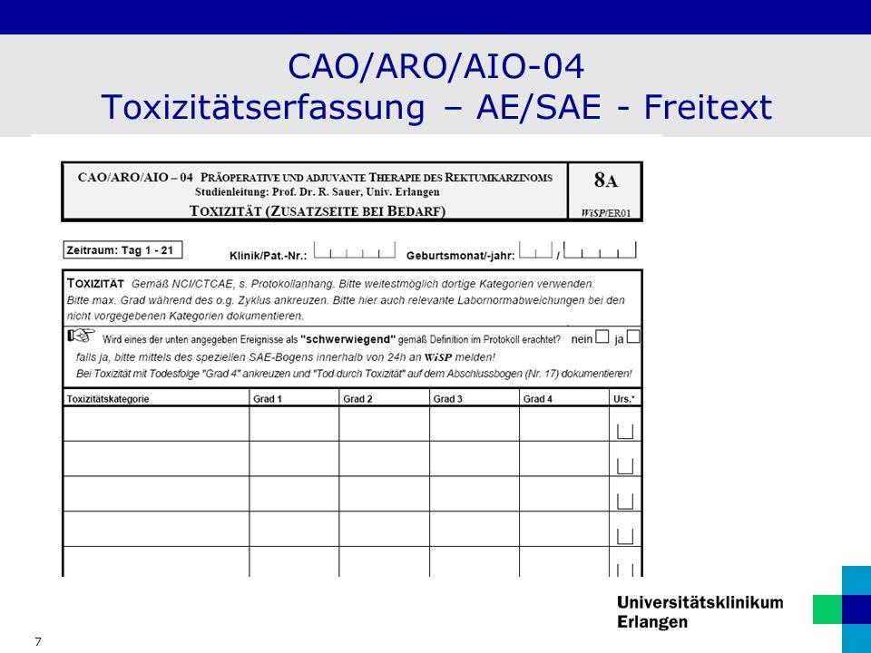 CAO/ARO/AIO-04 Toxizitätserfassung – AE/SAE - Freitext