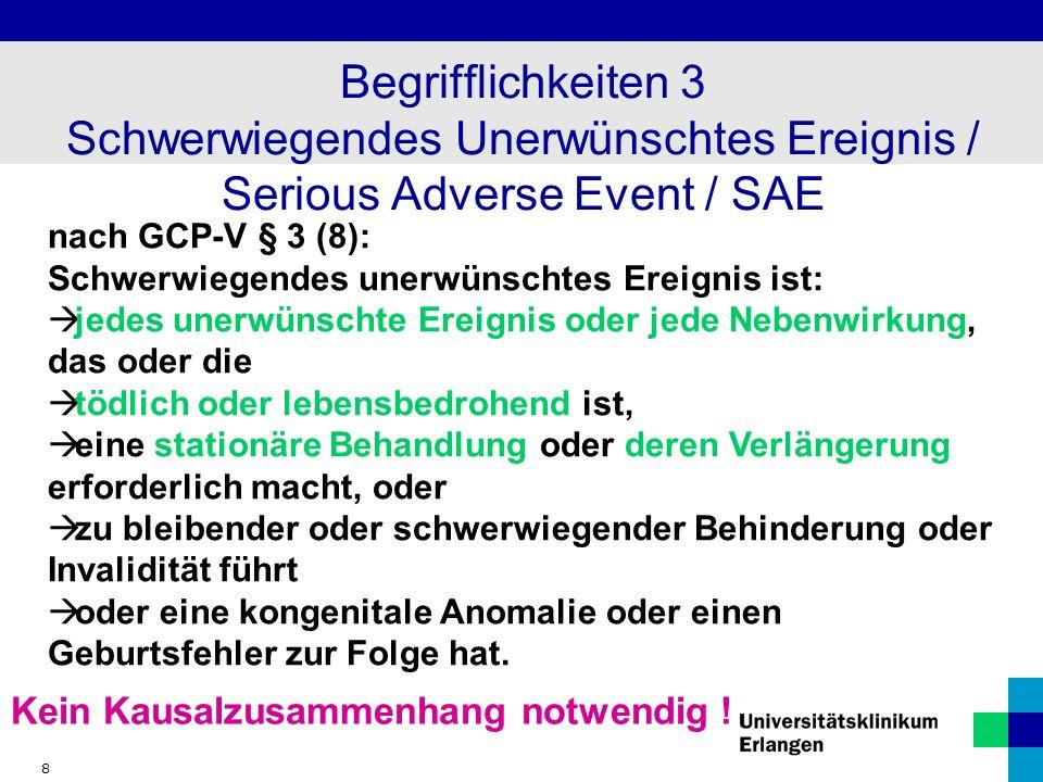 Begrifflichkeiten 3 Schwerwiegendes Unerwünschtes Ereignis / Serious Adverse Event / SAE