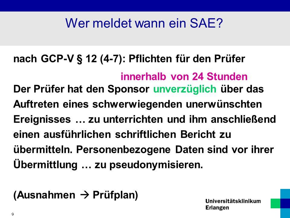 Wer meldet wann ein SAE nach GCP-V § 12 (4-7): Pflichten für den Prüfer.