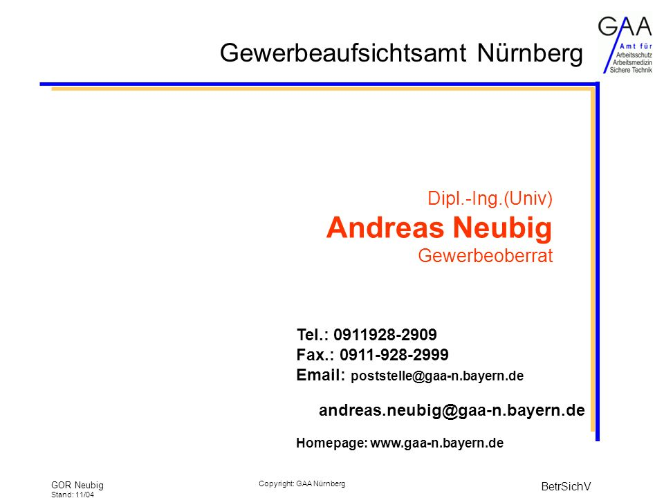 Dipl.-Ing.(Univ) Andreas Neubig Gewerbeoberrat