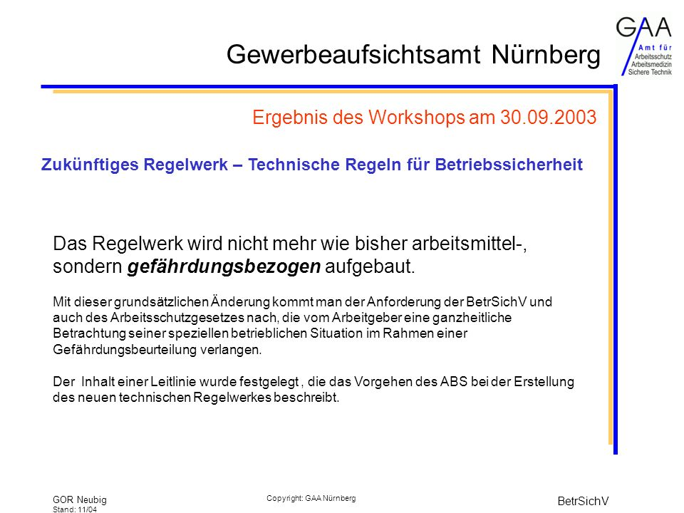 Ergebnis des Workshops am 30.09.2003