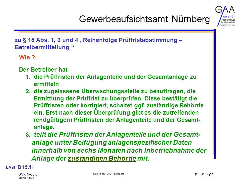 """zu § 15 Abs. 1, 3 und 4 """"Reihenfolge Prüffristabstimmung – Betreibermitteilung"""