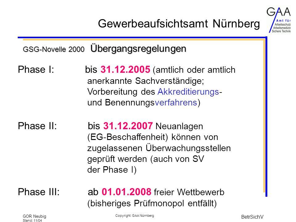 GSG-Novelle 2000 Übergangsregelungen