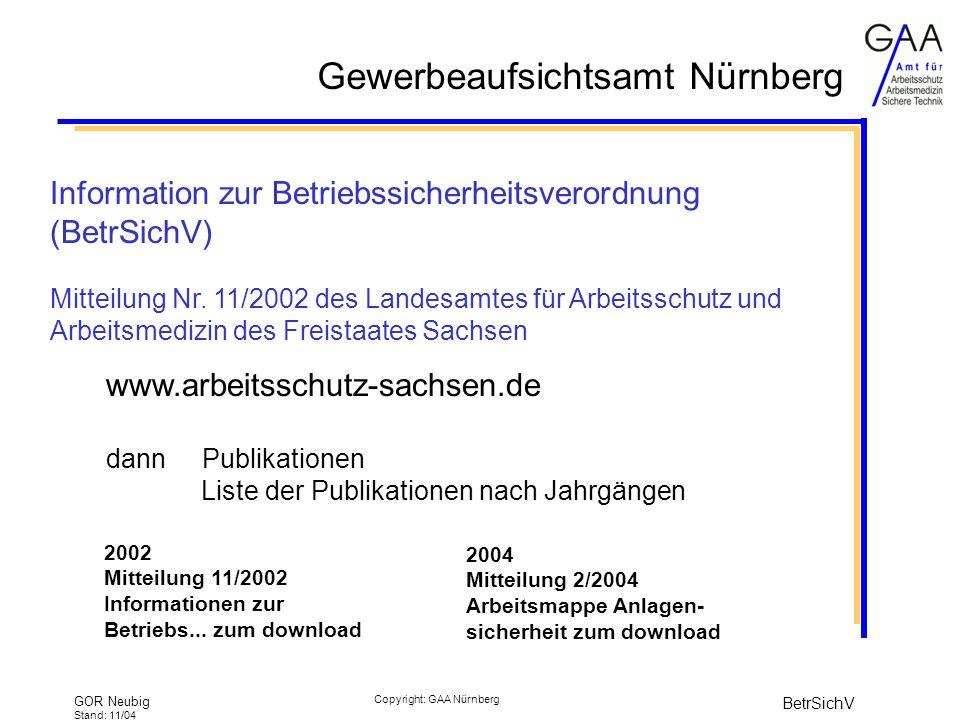 Information zur Betriebssicherheitsverordnung (BetrSichV)