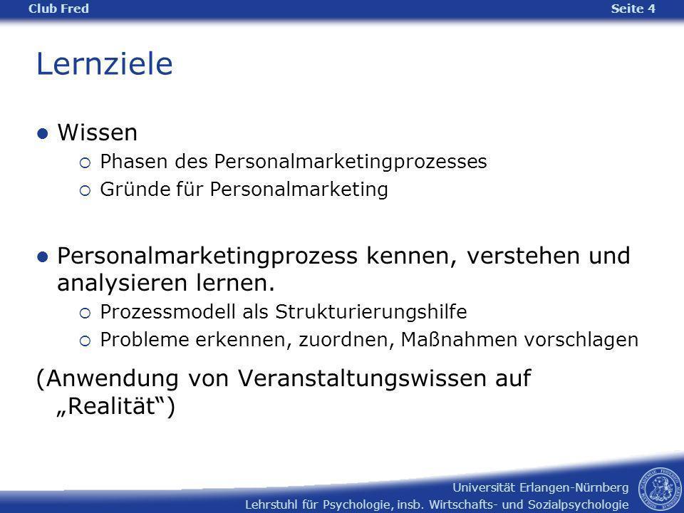 Club Fred Lernziele. Wissen. Phasen des Personalmarketingprozesses. Gründe für Personalmarketing.