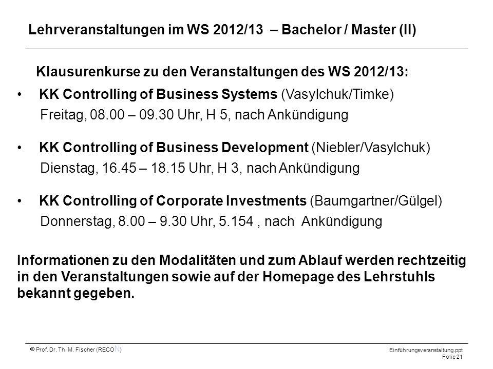 Lehrveranstaltungen im WS 2012/13 – Bachelor / Master (II)