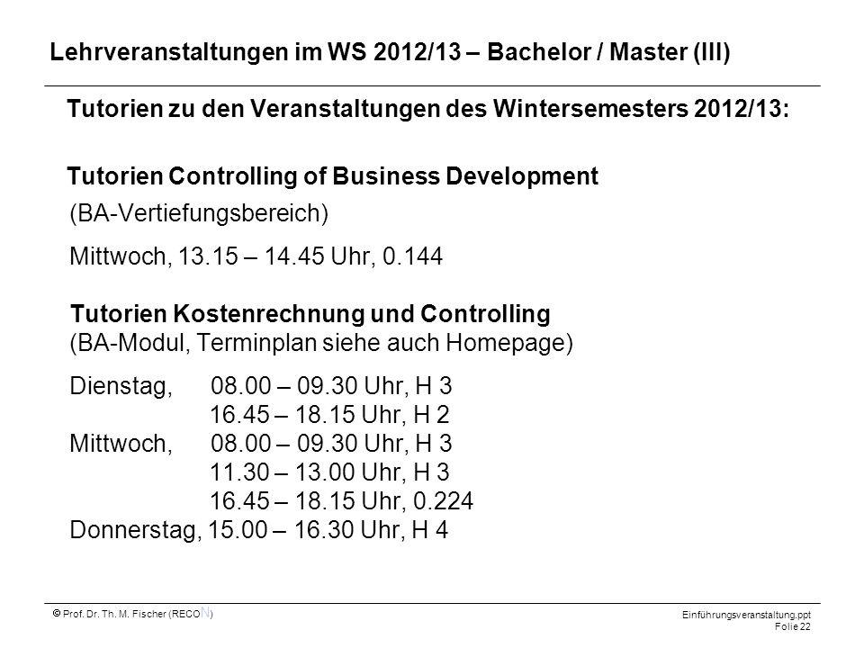 Tutorien zu den Veranstaltungen des Wintersemesters 2012/13: