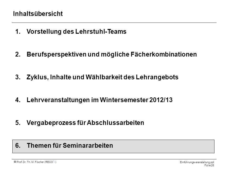 Inhaltsübersicht Vorstellung des Lehrstuhl-Teams. Berufsperspektiven und mögliche Fächerkombinationen.