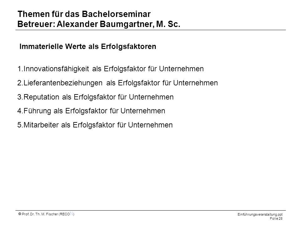 Themen für das Bachelorseminar Betreuer: Alexander Baumgartner, M. Sc.