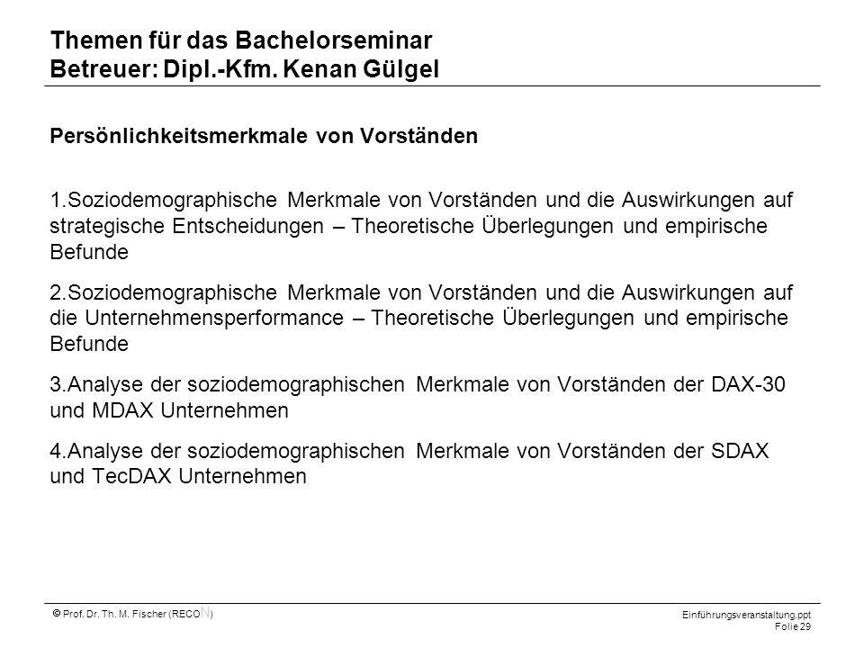 Themen für das Bachelorseminar Betreuer: Dipl.-Kfm. Kenan Gülgel