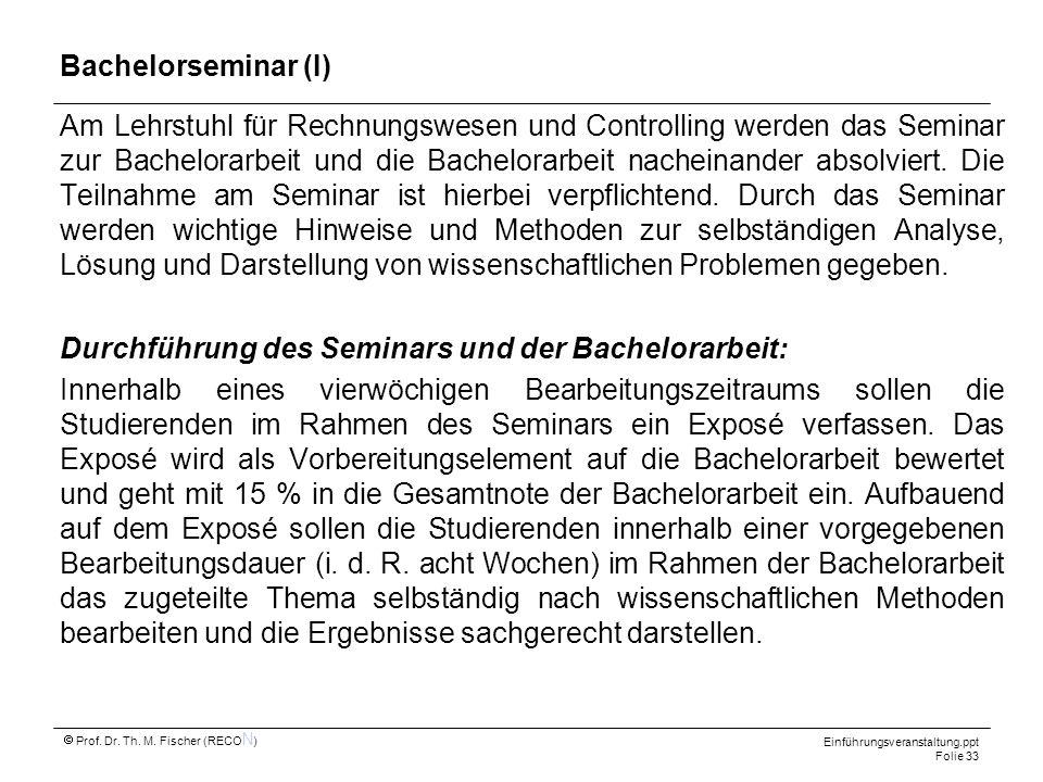Bachelorseminar (I)