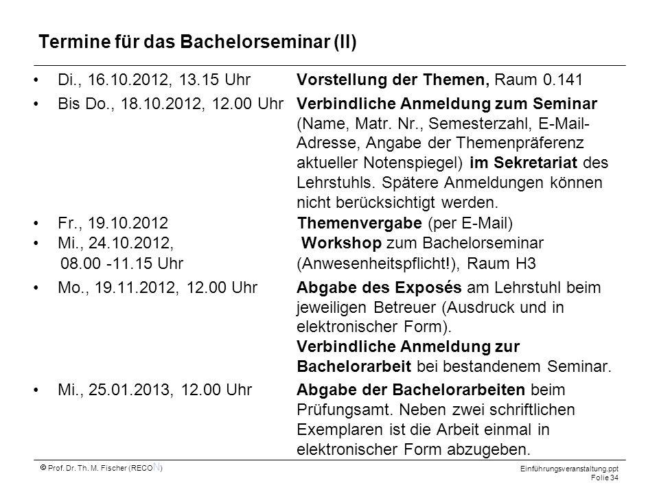 Termine für das Bachelorseminar (II)