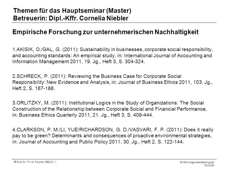Empirische Forschung zur unternehmerischen Nachhaltigkeit