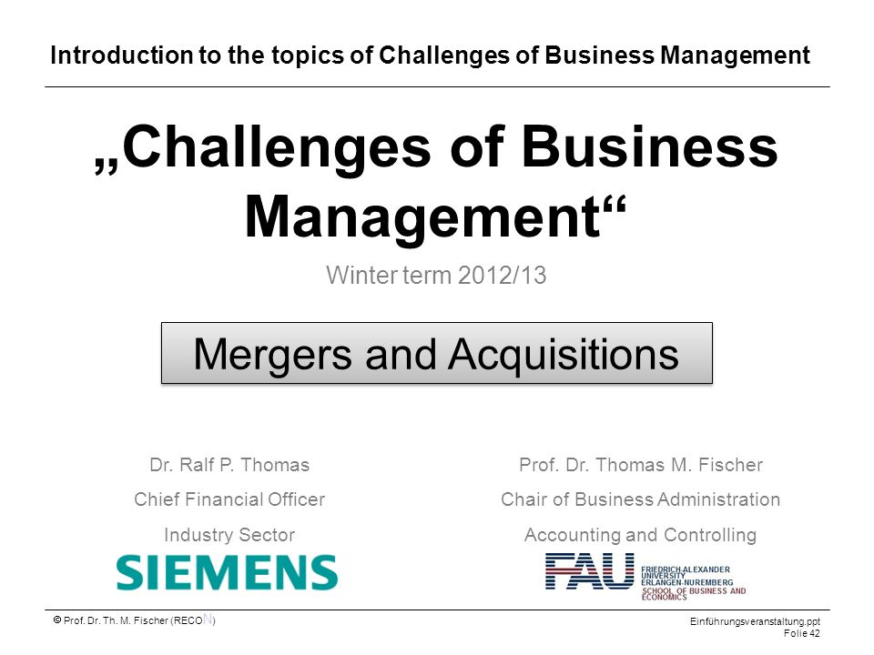 Introduction to the topics of Challenges of Business Management