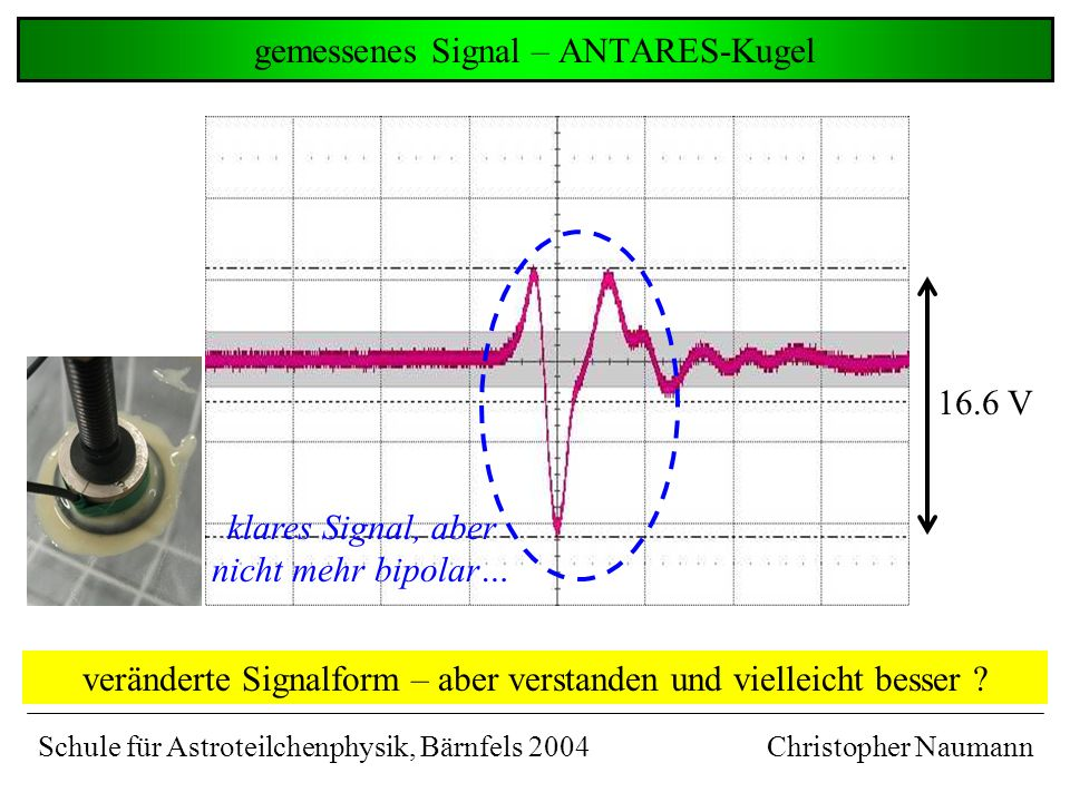 gemessenes Signal – ANTARES-Kugel