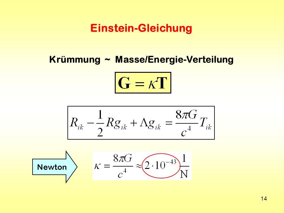 Krümmung ~ Masse/Energie-Verteilung