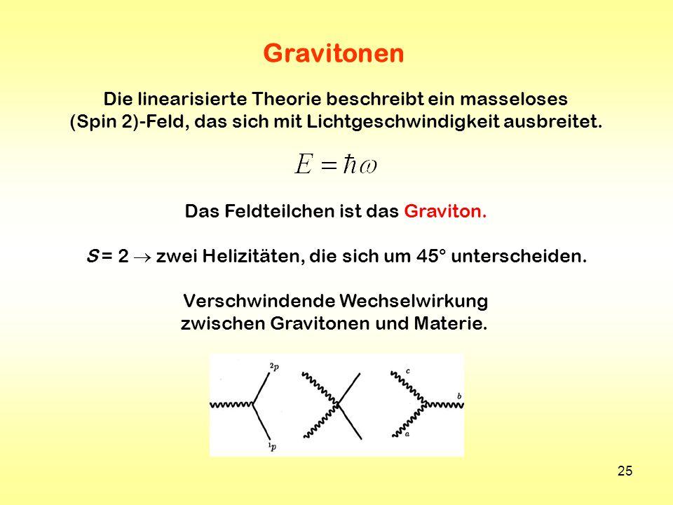 Gravitonen Die linearisierte Theorie beschreibt ein masseloses