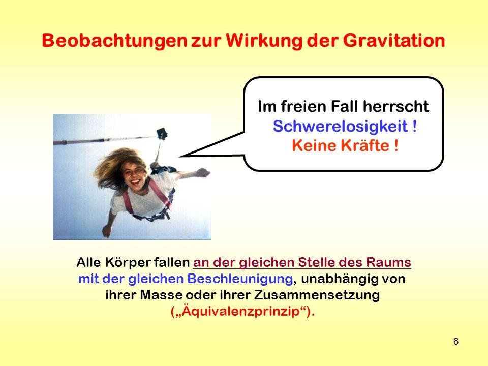 Beobachtungen zur Wirkung der Gravitation