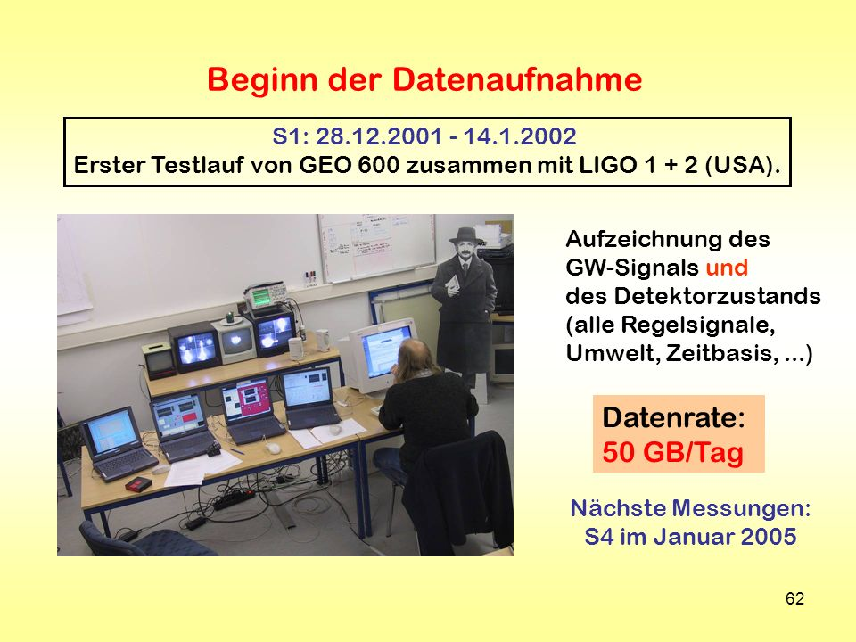 Erster Testlauf von GEO 600 zusammen mit LIGO 1 + 2 (USA).