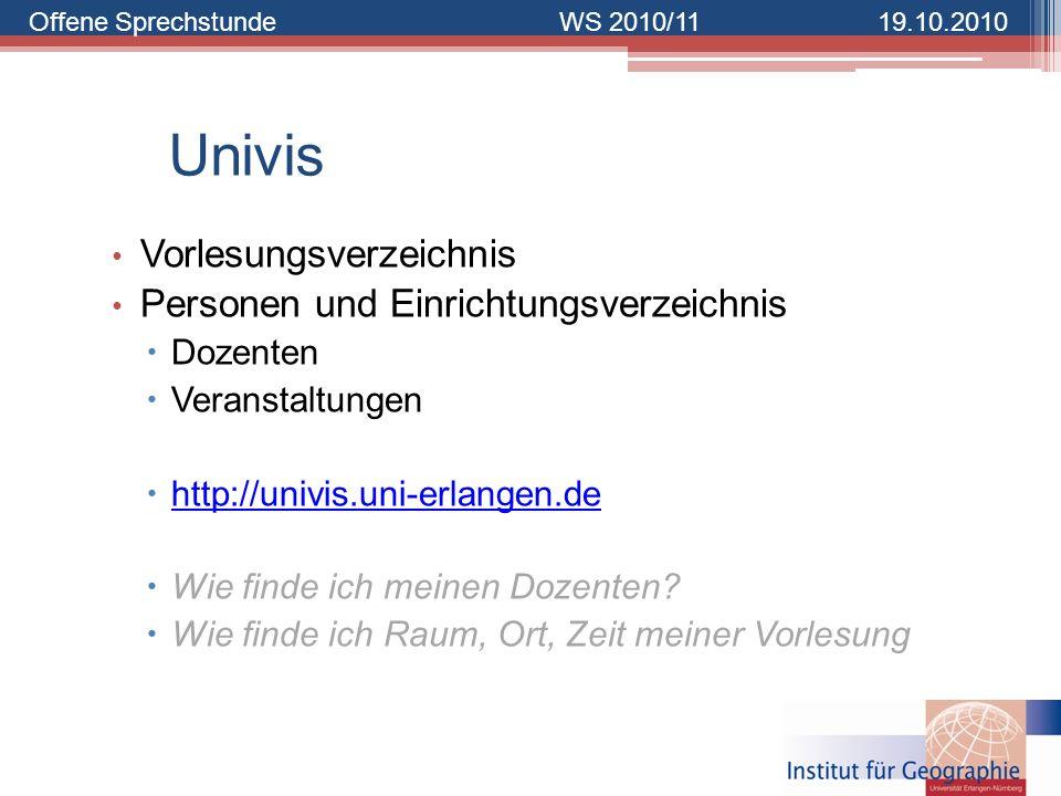 Univis Vorlesungsverzeichnis Personen und Einrichtungsverzeichnis