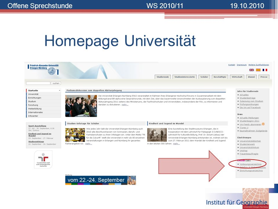 Homepage Universität