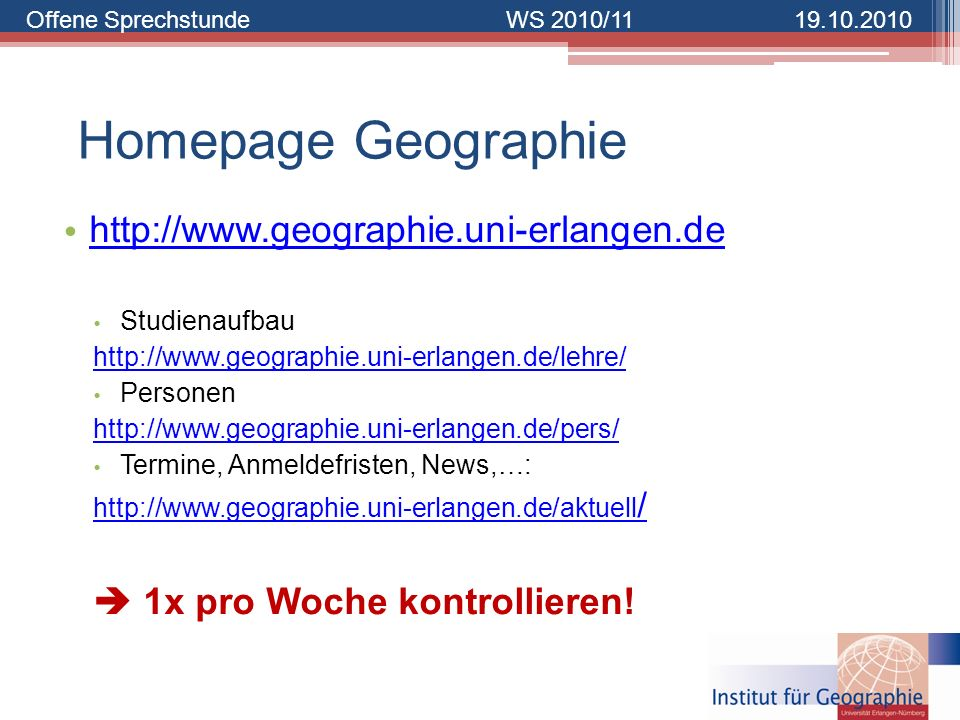 Homepage Geographie