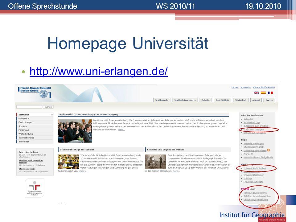 Homepage Universität http://www.uni-erlangen.de/
