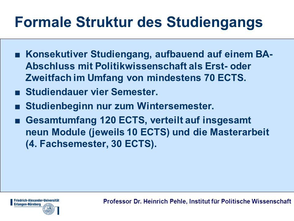Formale Struktur des Studiengangs
