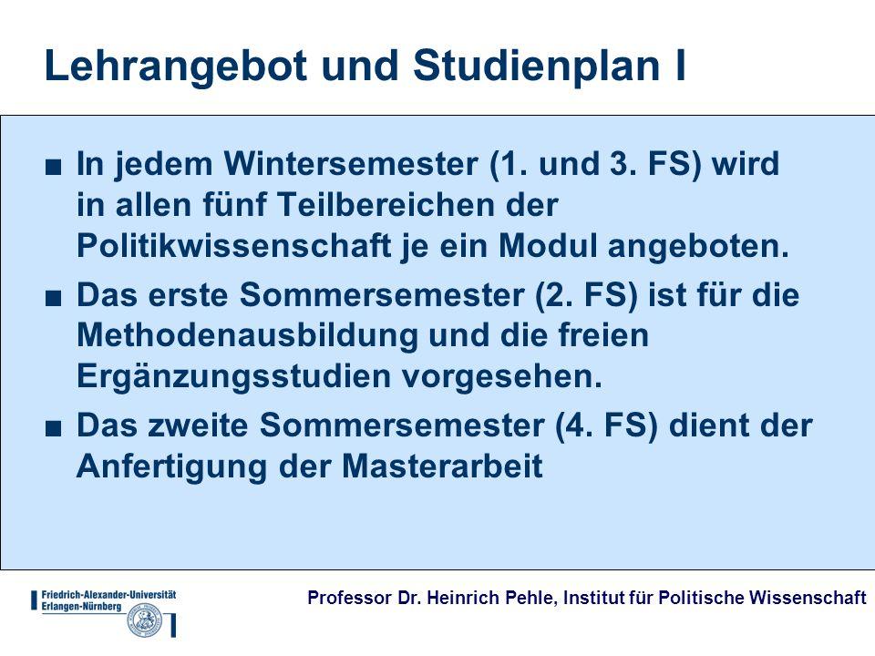 Lehrangebot und Studienplan I