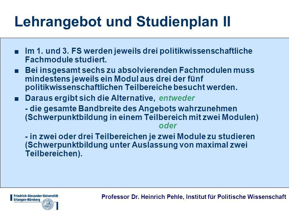 Lehrangebot und Studienplan II