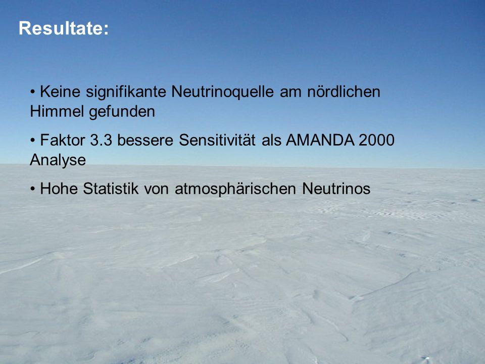 Resultate: Keine signifikante Neutrinoquelle am nördlichen Himmel gefunden. Faktor 3.3 bessere Sensitivität als AMANDA 2000 Analyse.