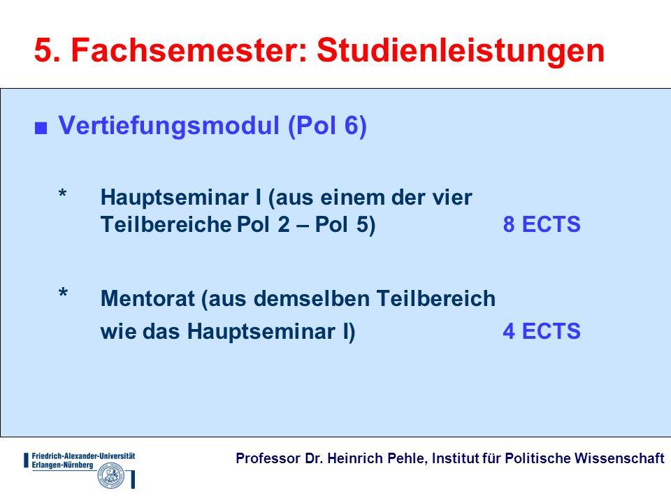5. Fachsemester: Studienleistungen