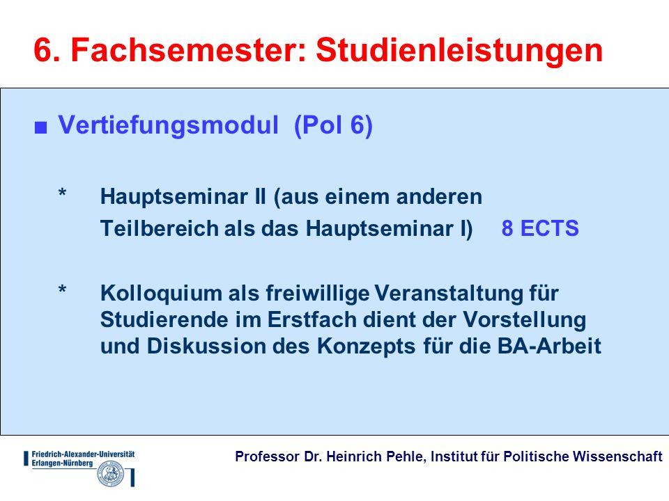 6. Fachsemester: Studienleistungen