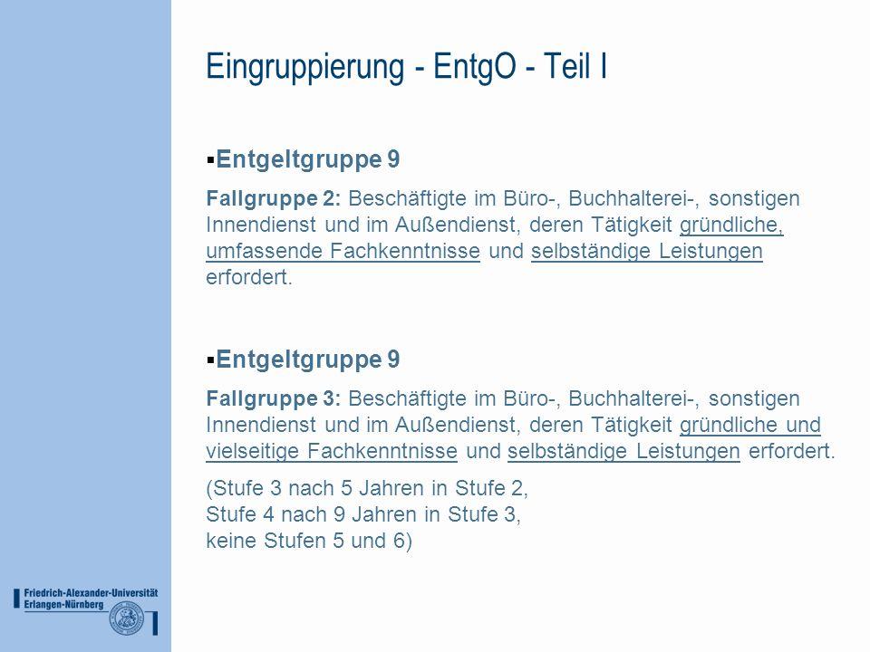 Eingruppierung - EntgO - Teil I