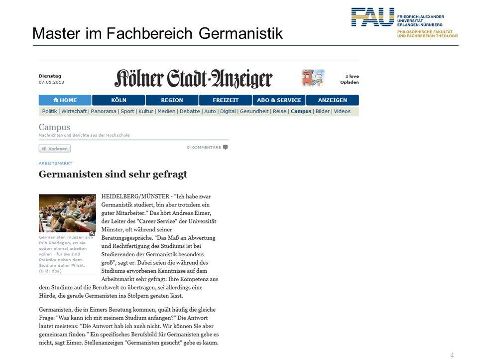 Master im Fachbereich Germanistik