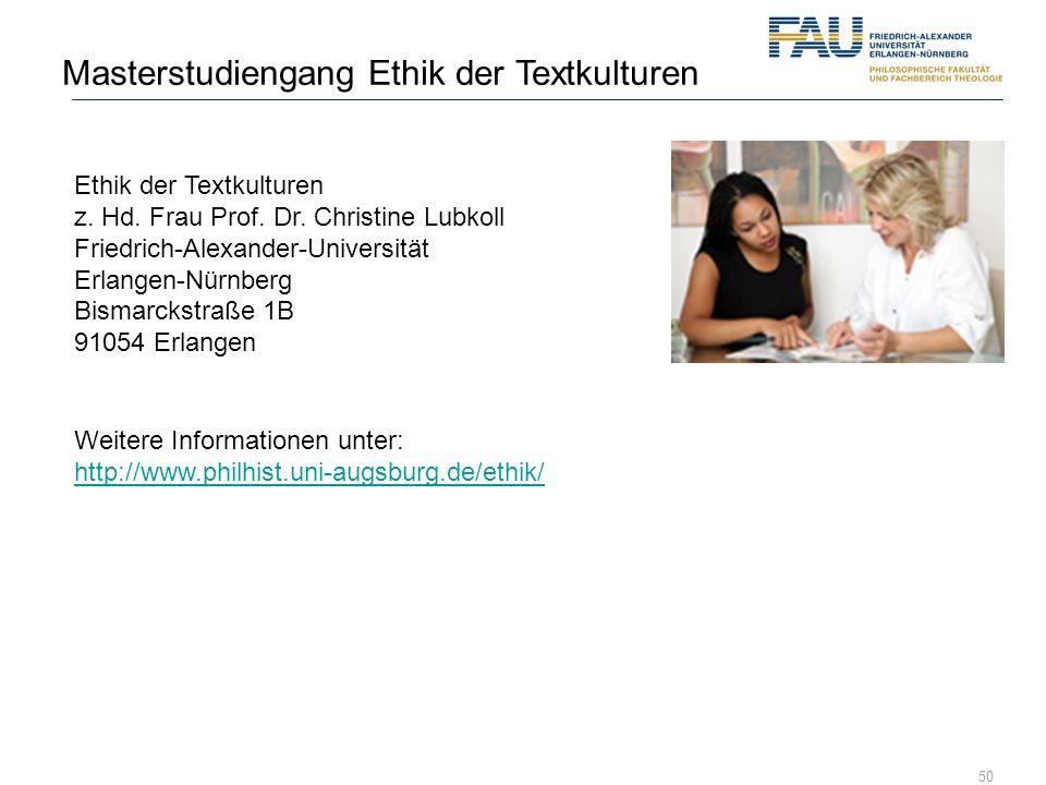 Masterstudiengang Ethik der Textkulturen
