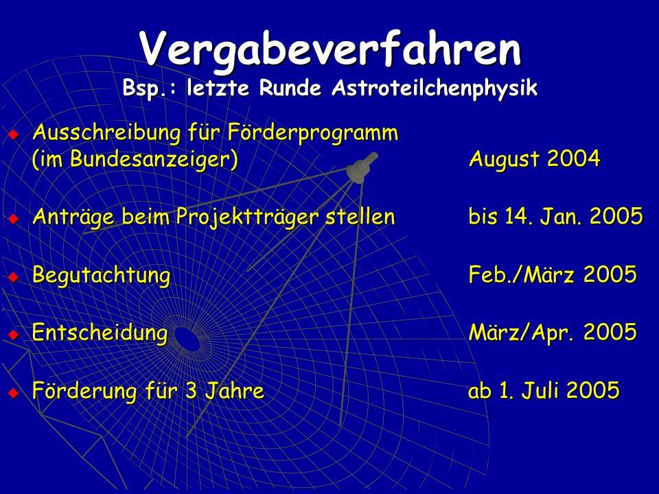 Vergabeverfahren Bsp.: letzte Runde Astroteilchenphysik