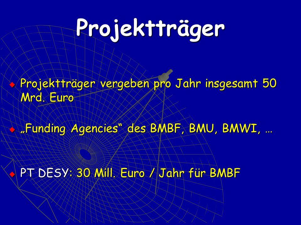 Projektträger Projektträger vergeben pro Jahr insgesamt 50 Mrd. Euro