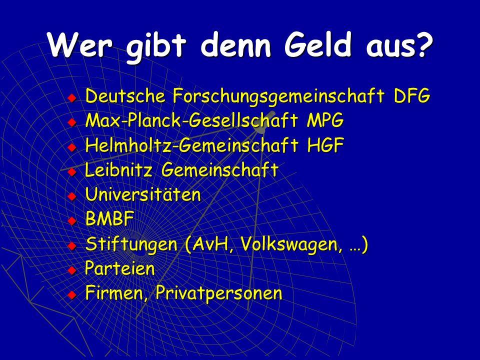 Wer gibt denn Geld aus Deutsche Forschungsgemeinschaft DFG